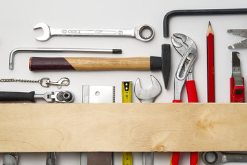 Home maintenance, service, diy concept. Tools for wood, metal and other construction work. Top view on DIY tools. home repairs. on White background. Wall mural