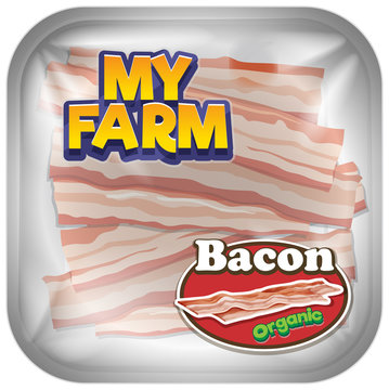 Font design for word my farm with bacon slices in package