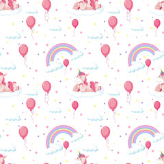 Seamless pattern cute unicorn with rainbow and balloon