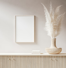 Mock up poster close up in interior background with pampas grass in wicker vase, 3d render