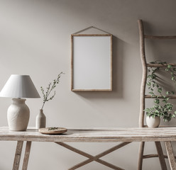 Poster de jardin Pierre, Sable Mockup frame in Nomadic style interior background, 3d render