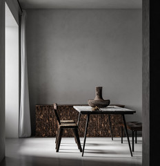 Photo sur cadre textile Pain Simple minimal Nomadic style interior, 3d render