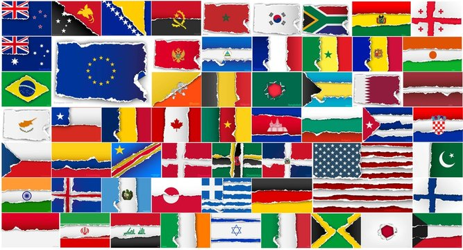 set of flags of all countries in illustration
