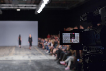 Wall Mural - Fashion Show, Catwalk Runway Event, Fashion Week themed photograph. Television camera broadcasting a show.