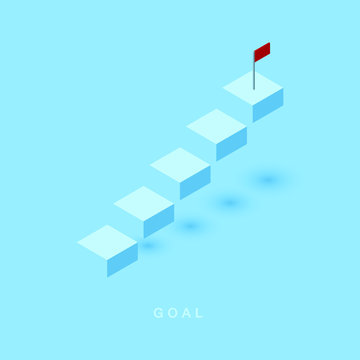 Growth or increase design concept. Cube block staircase moving step growing up to target. Success achievement or goal business motivation. Infographic elements 3d isometric vector illustration