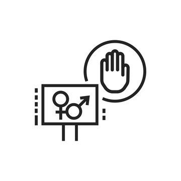 Sex strike line black icon. Feminist movement. Social protest. Pictogram for web page, mobile app, promo. Editable stroke