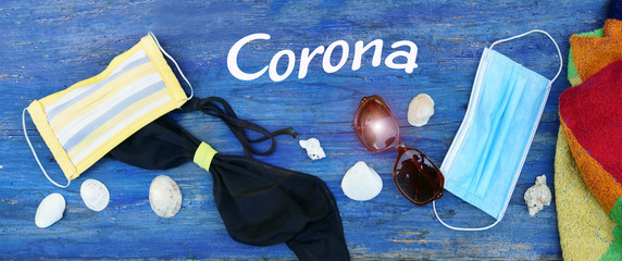 Corona vacations with corona protection, banner, header