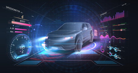 Concept of smart car technology. Car isometric hologram, in HUD style. Electric auto. Hologram car in low poly style. Futuristic car concept with dashboard speedometer, diagnostics. ( HUD, GUI, VFX )