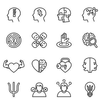 Schizophrenia, mental health, psychology icon set with white background. Thin line style stock vector.