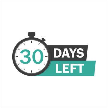 30 Days Left sign - emblem, label, badge,sticker, logo. Designed for your web site design, logo, app