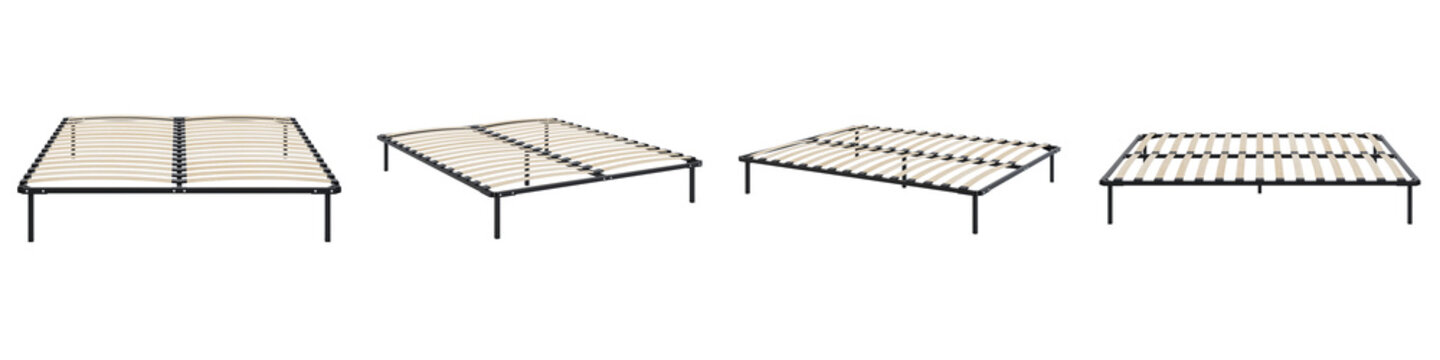 Orthopedic bed base on a white background. Set of pictures. 3D rendering.
