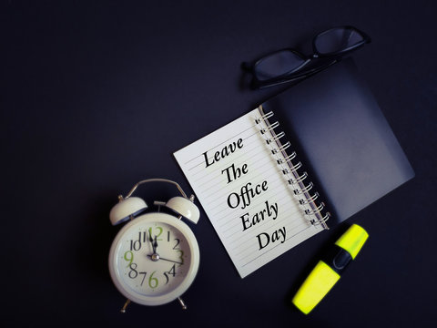 Inspirational celebration of leave the office early day concept