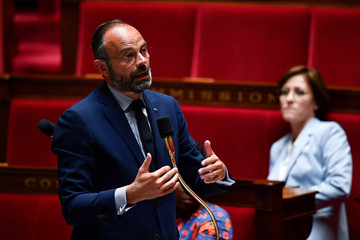 French Prime Minister Edouard Philippe speaks during a session of questions to the government at the French National Assembly in Paris