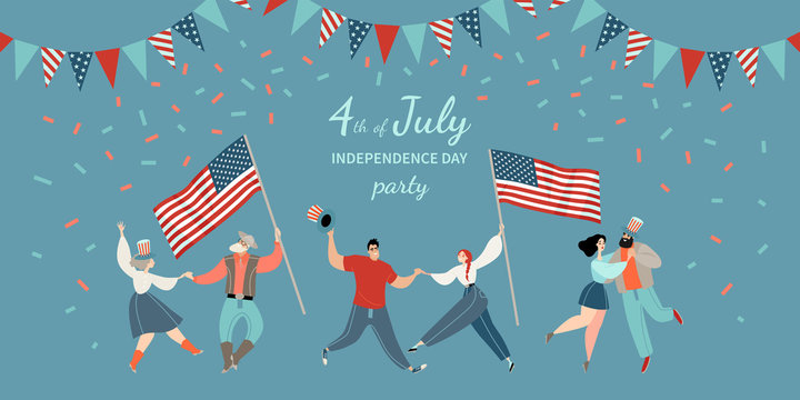 America Independence Day party invitation template with cheerful dancing couple with flags and hats. Happy Fourth of July