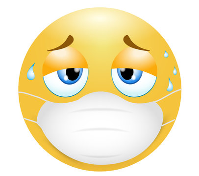 Emoji emoticon. Concept of tiredness in wearing the medical mask in the sultry heat. 3d illustration. Funny emoticon. Coronavirus outbreak protection concept.Three-dimensional. isolated