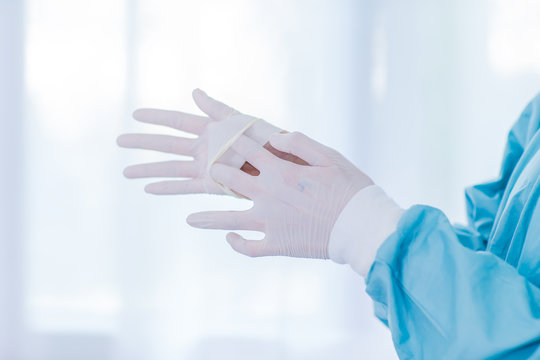 Step two : Removing medical gloves; Glove process; Protect the contamination, Step for removing the correct gloves. biosafety of laboratory.