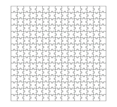 Set of of two hundred and fifty jigsaw puzzle pieces. Puzzle with different types of details and the ability to move each part. Black and white vector illustration.