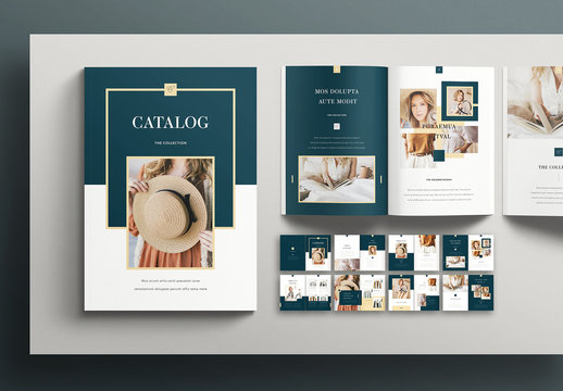 Catalog Layout with Teal Accents