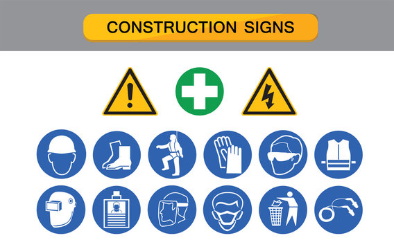 construction sign, protective equipment , protection on work,  industry health and safety icon vector collection.