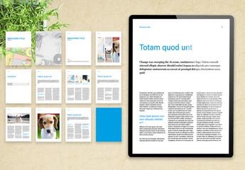 Basic Digital Magazine Layout with Blue Accents