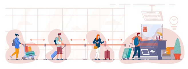 Queue of tourists at the departure check-in desk at the airport. People in medical mask stand in the luggage drop-off line at terminal and maintain a social distance. Travel during pandemic situation. Wall mural