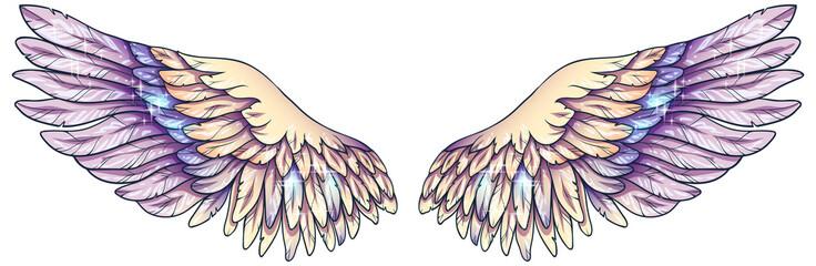 Beautiful magic glowing light tender yellow violet angel wings, vector