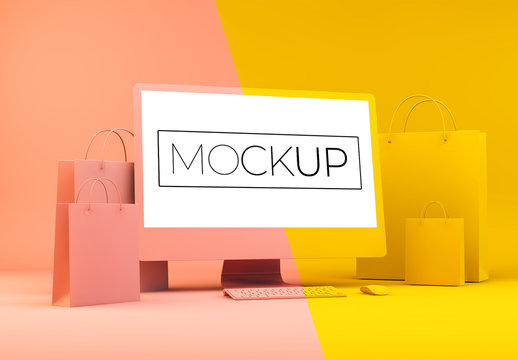 Shopping Concept with Computer Mockup