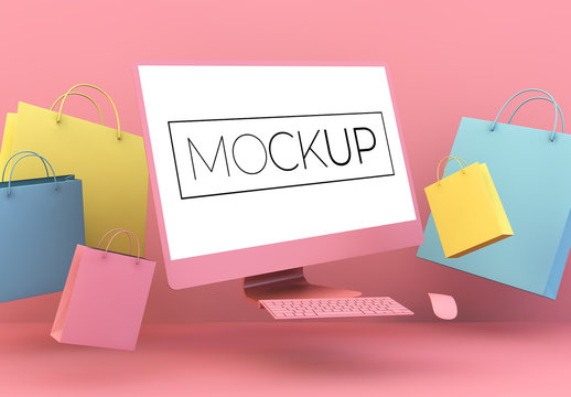 Floating  Minimalist Computer and Shopping Bags Mockup