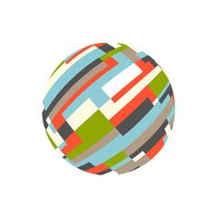Abstract rectangular sphere. Logo vector