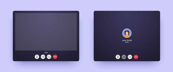 Video call screen with picture and with only audio. Web interface of conference chat application with mic and video icon and blank place for your picture. Call window mockup for online business.