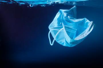 Face mask in ocean. Coronavirus protection. Ecology concept. Enviromental polution concept.