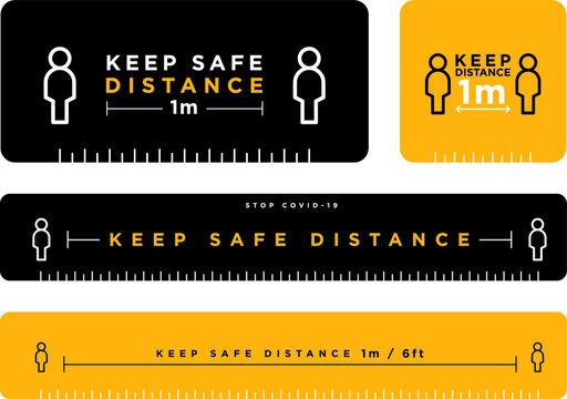 keep safe distance signage icon