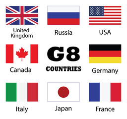 G8 Countries flag collection. UK, Russia, USA, Canada, Germany, Italy, Japan and France countries flags