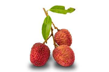 Fototapete - Group of lychee , litchi chinensis, with leaves on white background with clipping path