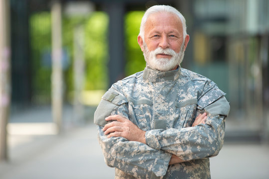 Portrait of senior soldier outdoor