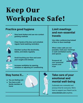 coronavirus, workplace guidelines coronavirus poster with light blue color, vector illustration.