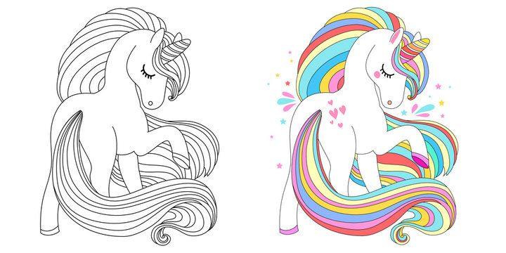 Cute unicorn line and color. Vector illustration for coloring book