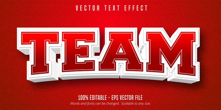Team text, sport style editable text effect