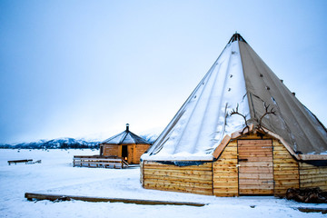 Traditional tent in the Sami camp above the arctic circle