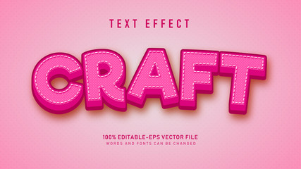 Pink Craft 3d text style effect