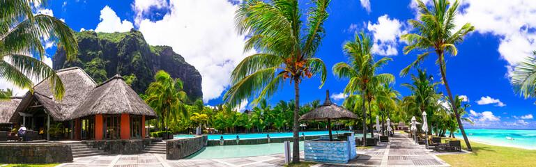 Exotic tropical vacation in Mauritius island. Paradis Beachcomber Golf Resort & Spa. Le Morne Peninsula. February 2020