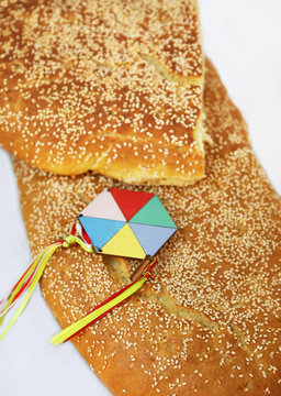 Clean Monday lagana bread and decorative kite