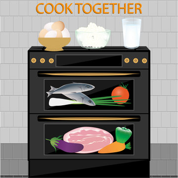 Gas stove, oven - dairy, meat products, vegetables, eggs - vector. Online courses. Cook together. Home Cook. Online cuisine.