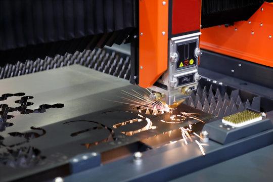 plate fiber laser cutting machine close up