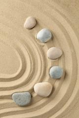 Photo sur Plexiglas Zen pierres a sable Stones on the sand with patterns. Zen concept