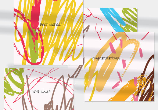 Abstract Doodle Card Layouts