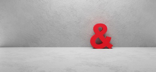 "red ""and"" sign on white concrete wall wall, cgi render image"