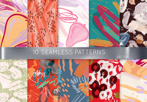 Floral Hand Drawn Pattern Set