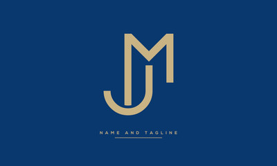 Alphabet letters monogram icon logo JM or MJ