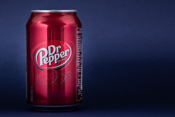 Belgorod , Russia - MAY, 17, 2020: Can of Dr Pepper soft drink. Isolated On blue Background.